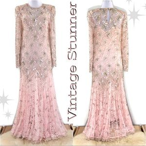 Vintage Stunning Beaded & Sequined Floor Length
